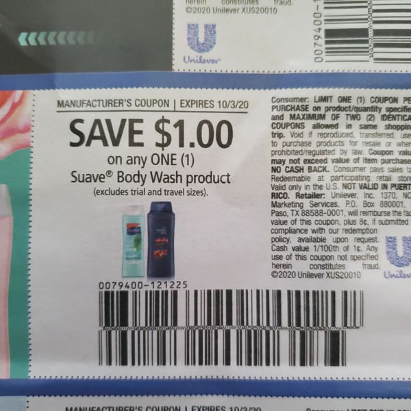 10 Coupons $1/1 Suave Body Wash Product Exp.10/3/20