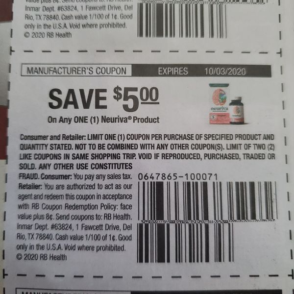 10 Coupons $5/1 Neuriva Product Exp.10/3/20