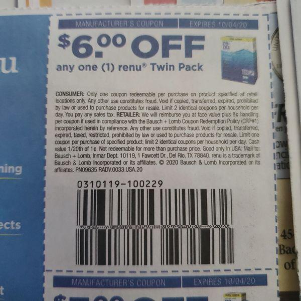 10 Coupons $6/1 Renu Twin Pack Exp.10/4/20
