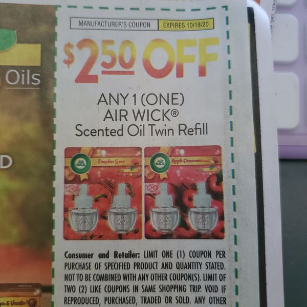 10 Coupons $2.50/1 Air Wick Scented Oil Twin Refill Exp.10/18/20