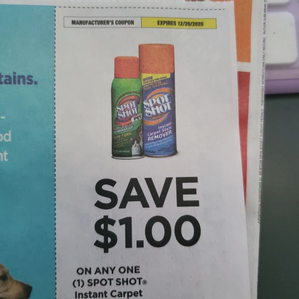 10 Coupons $1/1 Spot Shot Instant Carpet Stain Remover Exp.12/20/20