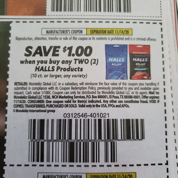 10 Coupons $1/2 Halls Products (10ct+) Exp.11/14/20