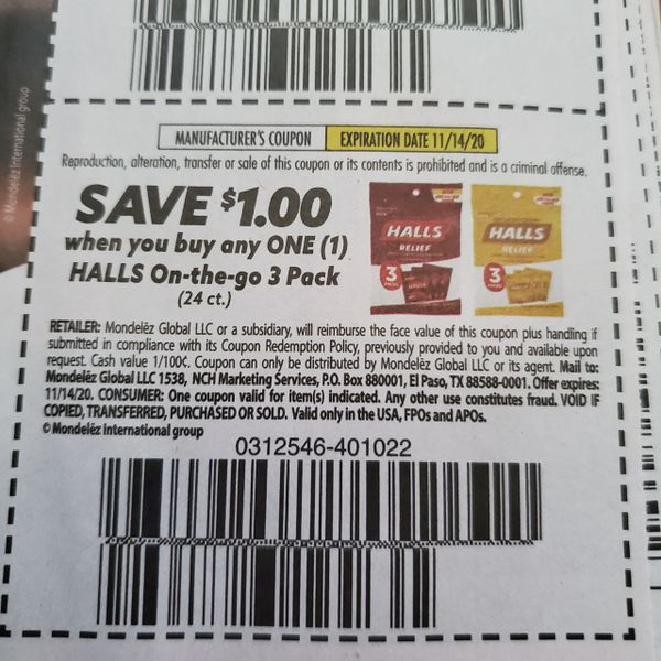 10 Coupons $1/1 Halls On-The-Go 3 Pack (24ct) Exp.11/14/20