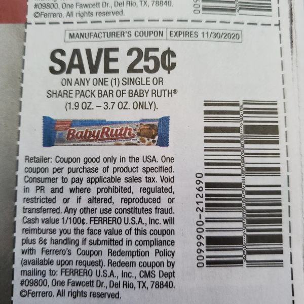 10 Coupons $.25/1 Baby Ruth Single or Share Bar (1.9oz-3.7oz Only) Exp.11/30/20