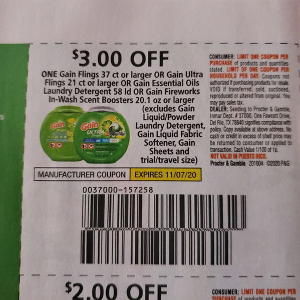 10 Coupons $3/1 Gain Flings (SEE PIC) Exp.11/7/20