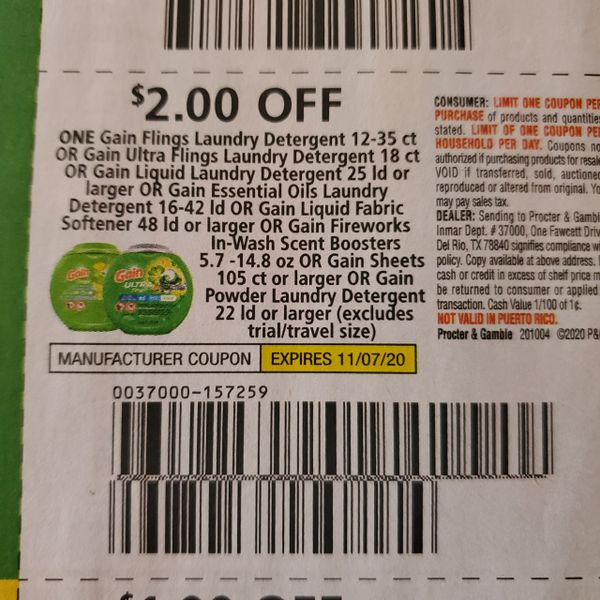 10 Coupons $2/1 Gain Flings (SEE PIC) Exp.11/7/20