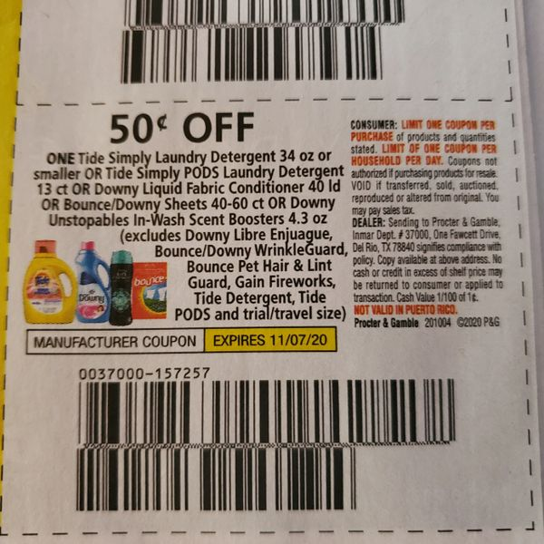 10 Coupons $.50/1 Tide Simply Laundry Detergent (SEE PIC) Exp.11/7/20