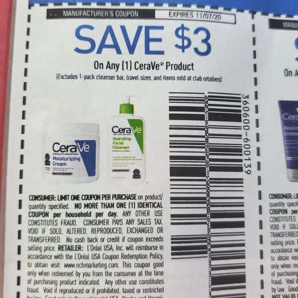 10 Coupons $3/1 CeraVe Product (Excludes 1-Pack Cleanser Bar and Items Sold at Club Retailers) Ecp.11/7/20