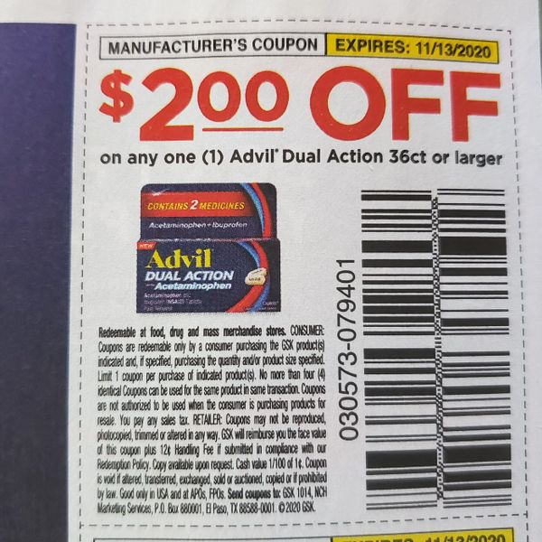 10 Coupons $2/1 Advil Dual Action 36ct+ Exp.11/13/20
