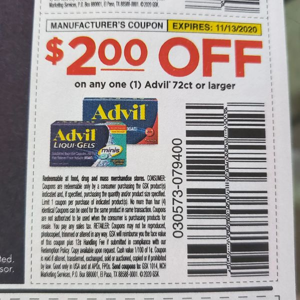 10 Coupons $2/1 Advil 72ct+ Exp.11/13/20