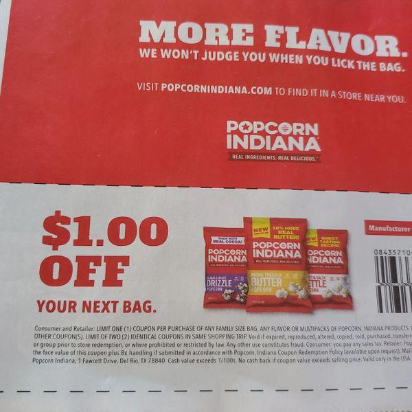 10 Coupons $1/1 Popcorn Indiana Exp.11/28/20