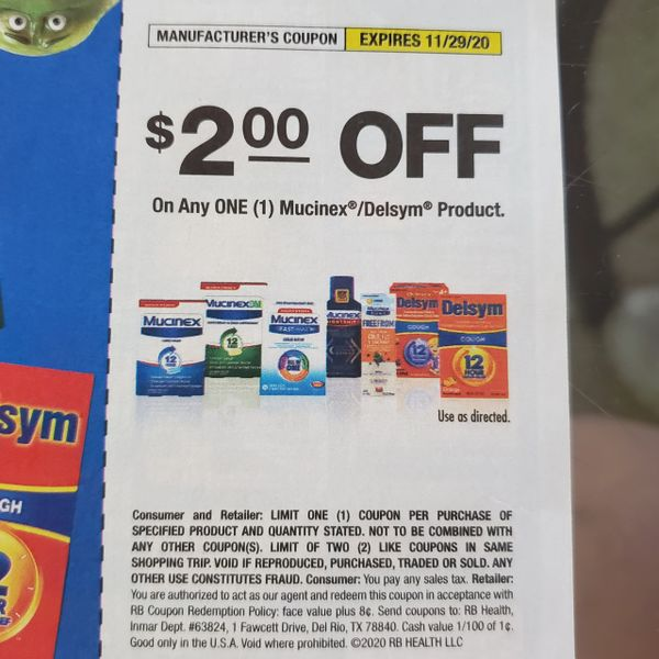 10 Coupons $2/1 Mucinex/Delsym Product Exp.11/29/20