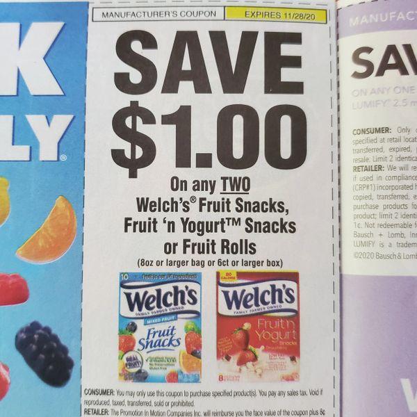 10 Coupons $1/2 Welch's Fruit Snacks, Fruit n Yogurt Snacks or Fruit Rolls (8oz+ Bag or 6ct+ Box) Exp.11/28/20