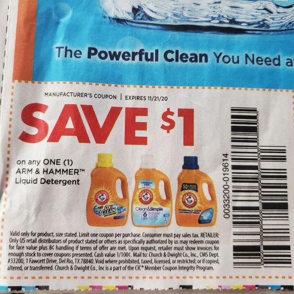 10 Coupons $1/1 Arm & Hammer Liquid Detergent Exp.11/21/20