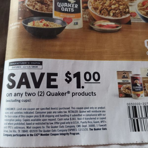 10 Coupons $1/2 Quaker Products (Excluding Cups) Exp.12/13/20