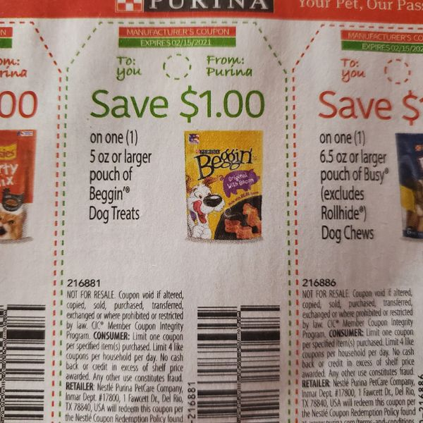 10 Coupons $1/1 Beggin Dog Treats 5oz+ Exp.2/15/21
