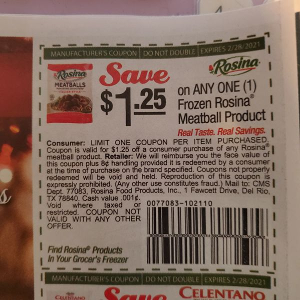 10 Coupons $1.25/1 Frozen Rosina Meatball Product Exp.2/28/21
