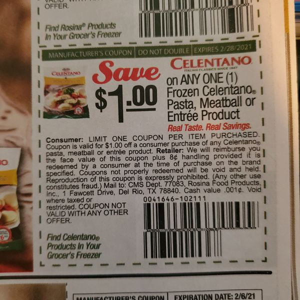 10 Coupons $1/1 Frozen Celentano Pasta, Meatball or Entree Product Exp.2/28/21