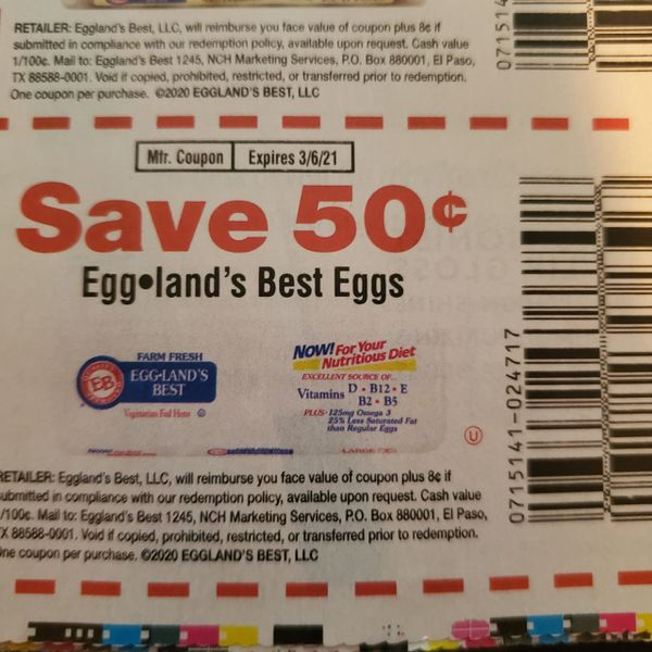 10 Coupons $.50/1 Eggland's Best Eggs Exp.3/6/21s