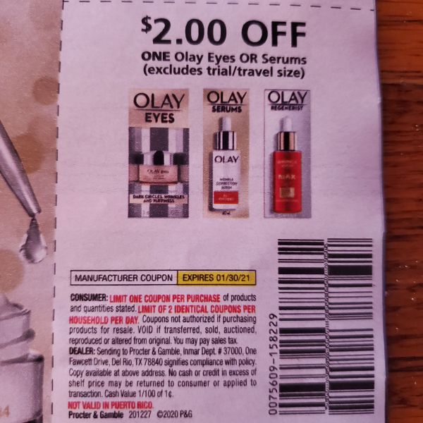 10 Coupons $2/1 Olay Eyes Or Serums Exp.1/30/21