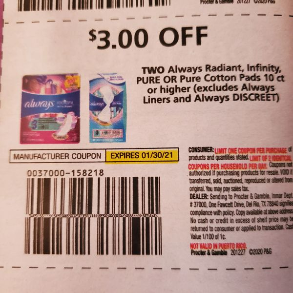 10 Coupons $3/2 Always Radiant, Infinity, Pure or Pure Cotton Pads 10ct+ Exp.1/30/21