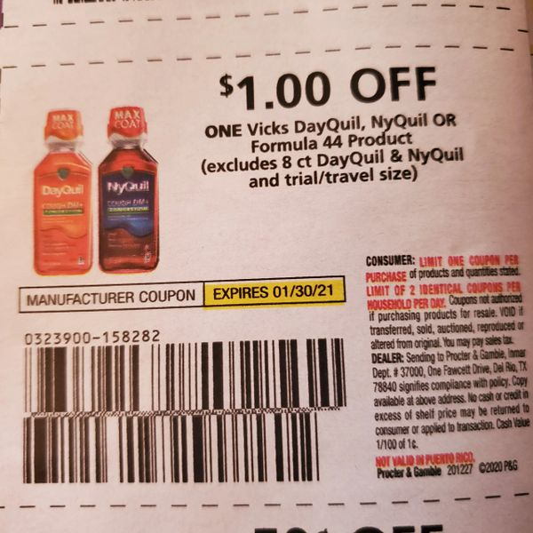 10 Coupons $1/1 Vicks DayQuil, NyQuil or Formula 44 Product Exp.1/30/21