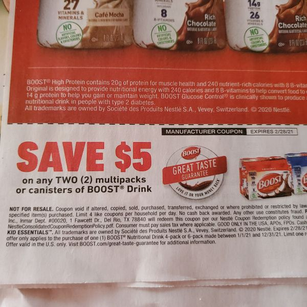 10 Coupons $5/2 Boost Drink Multipacks or Canisters Exp.2/28/21