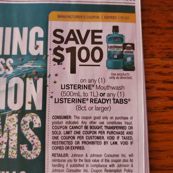 10 Coupons $1/1 Listerine Mouthwash (500mL to 1L) or (1) Listerine Ready Tabs (8ct+) Exp.1/31/21