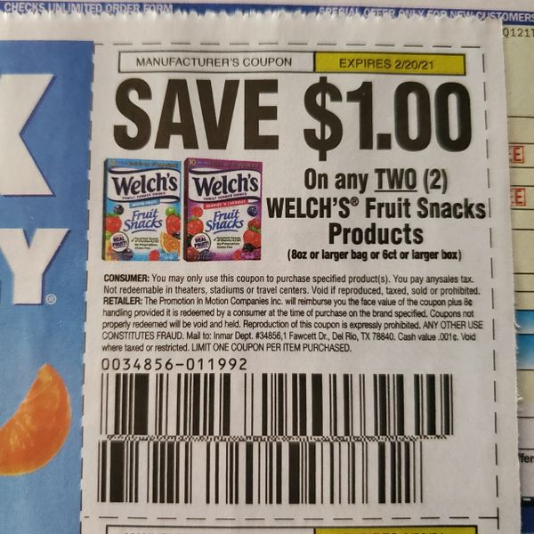 10 Coupons $1/2 Welch's Fruit Snacks Product Exp.2/20/21