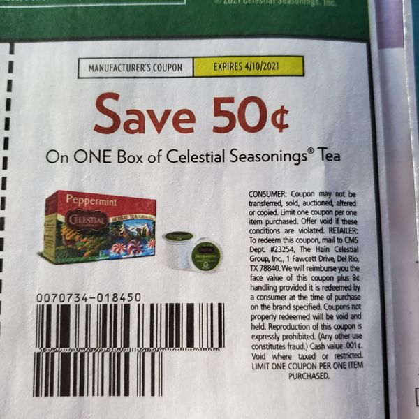 10 Coupons $.50/1 Celestial Seasonings Tea Exp.4/10/21
