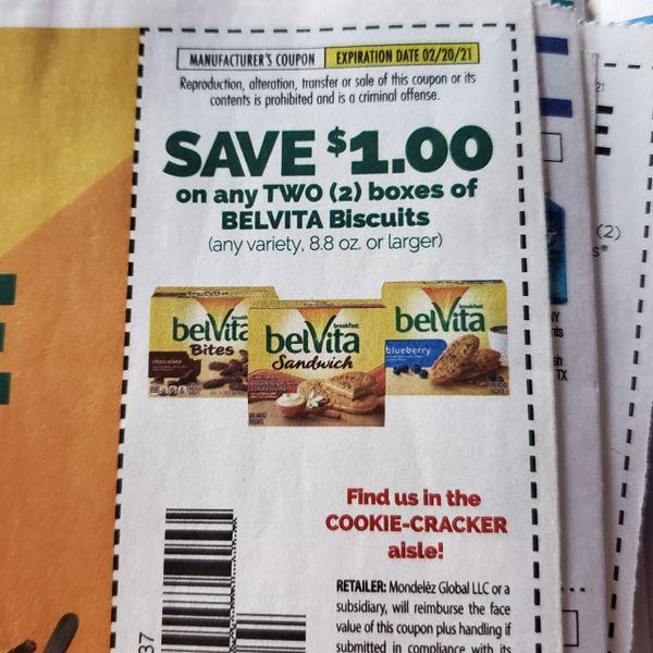 10 Coupons $1/2 Belvita Biscuits (8.8oz+) Exp.2/20/21