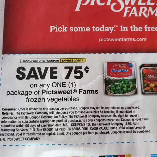 10 Coupons $.75/1 Pictsweet Farms Frozen Vegetables Exp.2/28/21