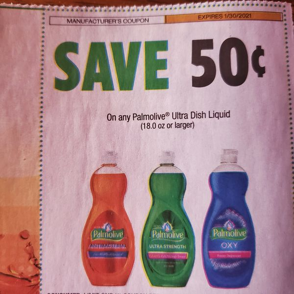 10 Coupons $.50/1 Palmolive Ultra Dish Liquid (18.0oz+) Exp.1/30/21