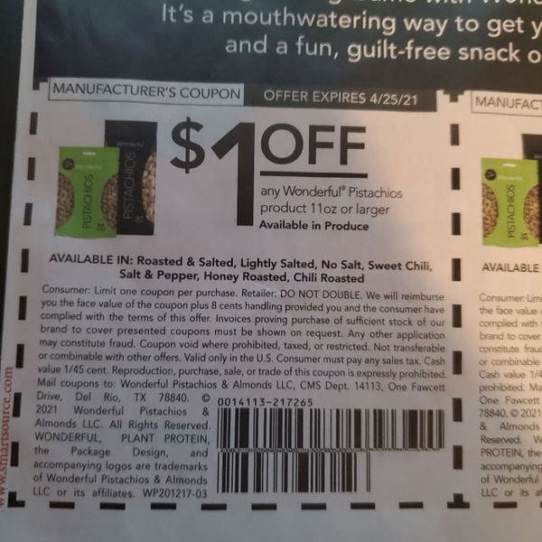 10 Coupons $1/1 Wonderful Pistachios Product 11oz+ Exp.4/25/21