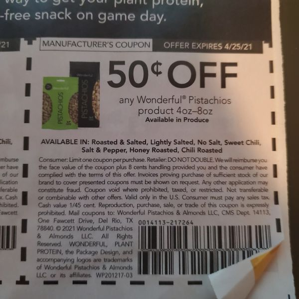 10 Coupons $.50/1 Wonderful Pistachios Product 4oz-8oz Exp.4/25/21