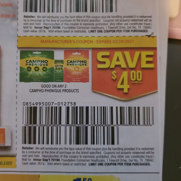 10 Coupons $4/2 Campho-Phenique Products Exp.3/24/21