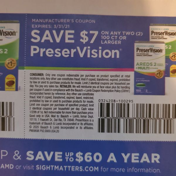10 Coupons $7/2 PreserVision 100ct+ Exp.3/31/21
