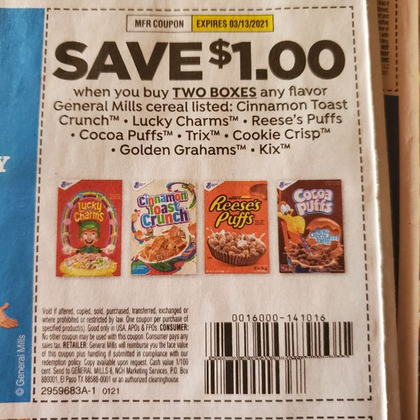 10 Coupons $1/2 General Mills Cereals Listed (SEE PIC) Exp.3/13/21