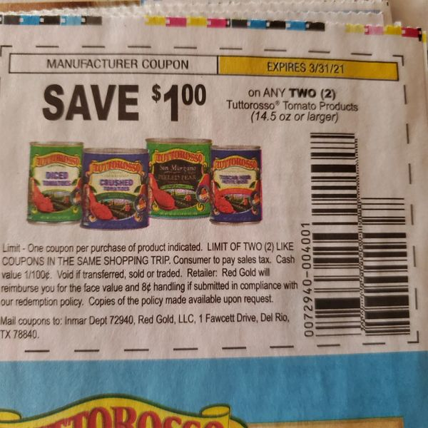 10 Coupons $1/2 Tuttorosso Tomato Products (14.5oz+) Exp.3/31/21