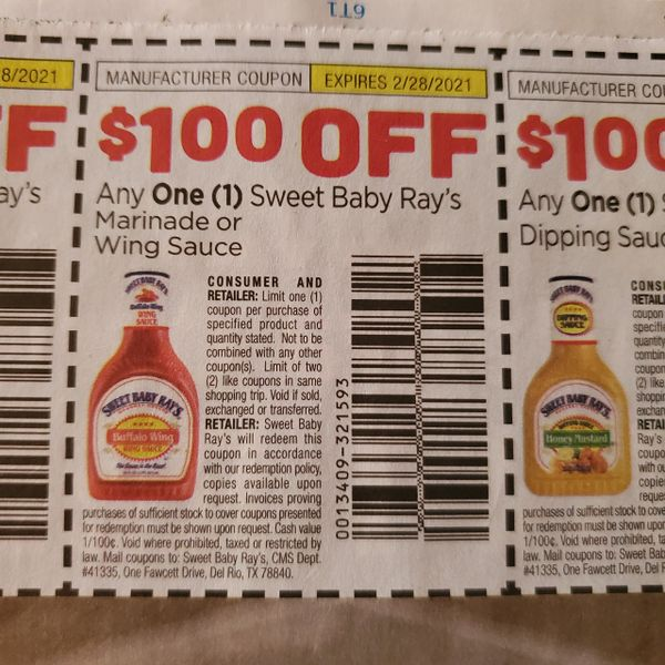 10 Coupons $1/1 Sweet Baby Ray's Marinade or Wing Sauce Exp.2/28/21