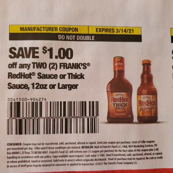 10 Coupons $1/2 Frank's Redhot Sauce or Thick Sauce 12oz+ Exp.3/14/21
