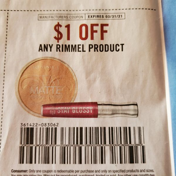 10 Coupons $1/1 Rimmel Product Exp.3/31/21