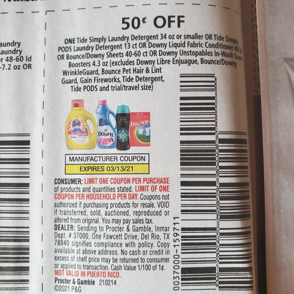 10 Coupons $.50/1 Tide Simply Laundry Detergent 34oz or Smaller or Tide Simply Pods Laundry Detergent 13ct Or Downy Liquid Fabric Conditioner 40ld Or Bounce/Downy Sheets Sheets 40-60ct Or Downy Ustopables In-Wash Scent Boosters 4.3oz Exp.3/13/21
