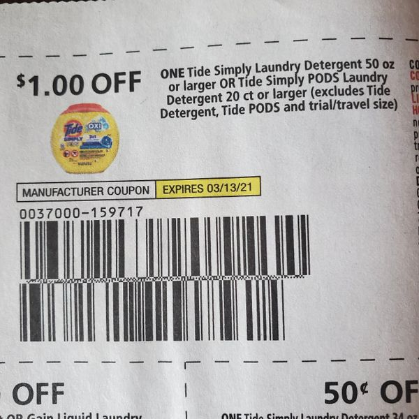 10 Coupons $1/1 Tide Simply Laundry Detergent 50oz+ Or Tide Simply Pods Laundry Detergent 20ct+Exp.3/13/21