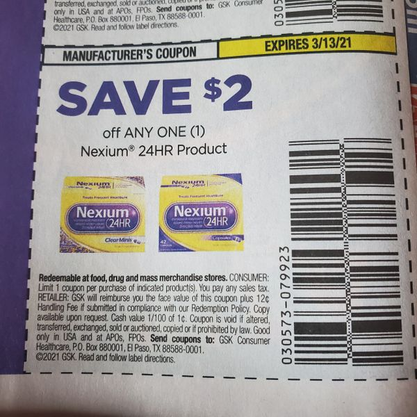 10 Coupons $2/1 Nexium 24Hr Product Exp.3/13/21
