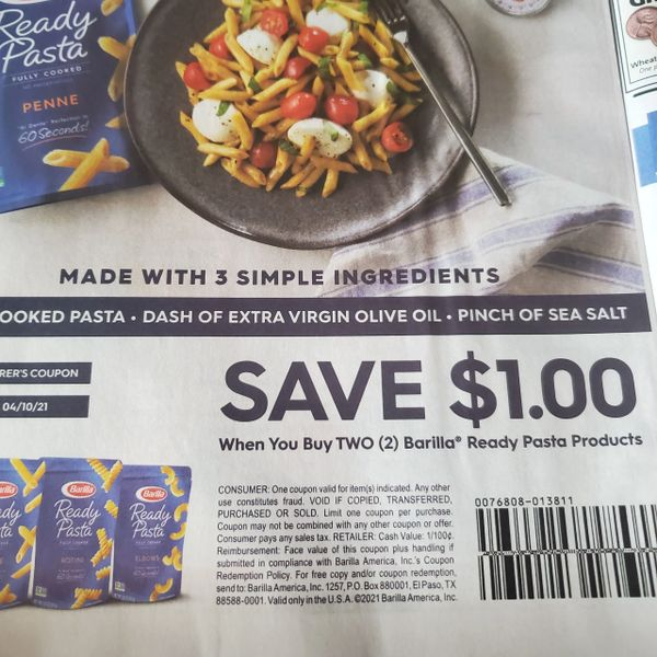 10 Coupons $1/2 Barilla Ready Pasta Products Exp.4/10/21