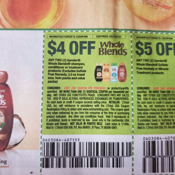 10 Coupons $4/2 Garnier Whole Blends Shampoo, Conditioner or Treatment Products Exp.2/28/21