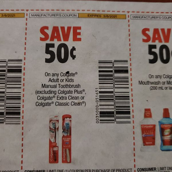10 Coupons $.50/1 Colgate Adult or Kids Manual Toothbrush Exp.3/6/21