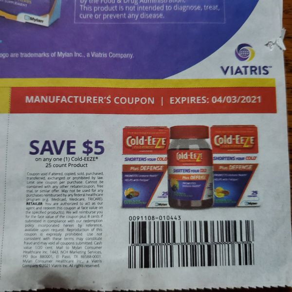 10 Coupons $5/1 Cold-Eeze 25ct Product Exp.4/3/21