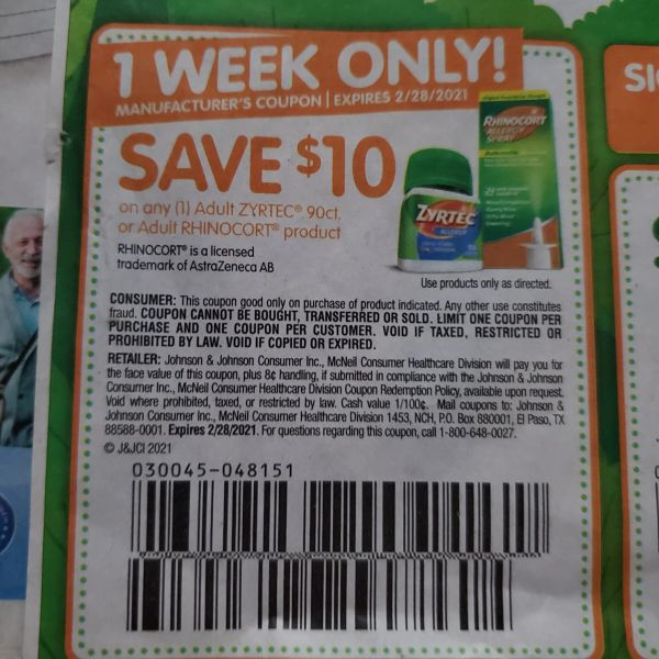 10 Coupons $10/1 Adult Zyrtec 90ct or Adult Rhinicort Product Exp.2/28/21